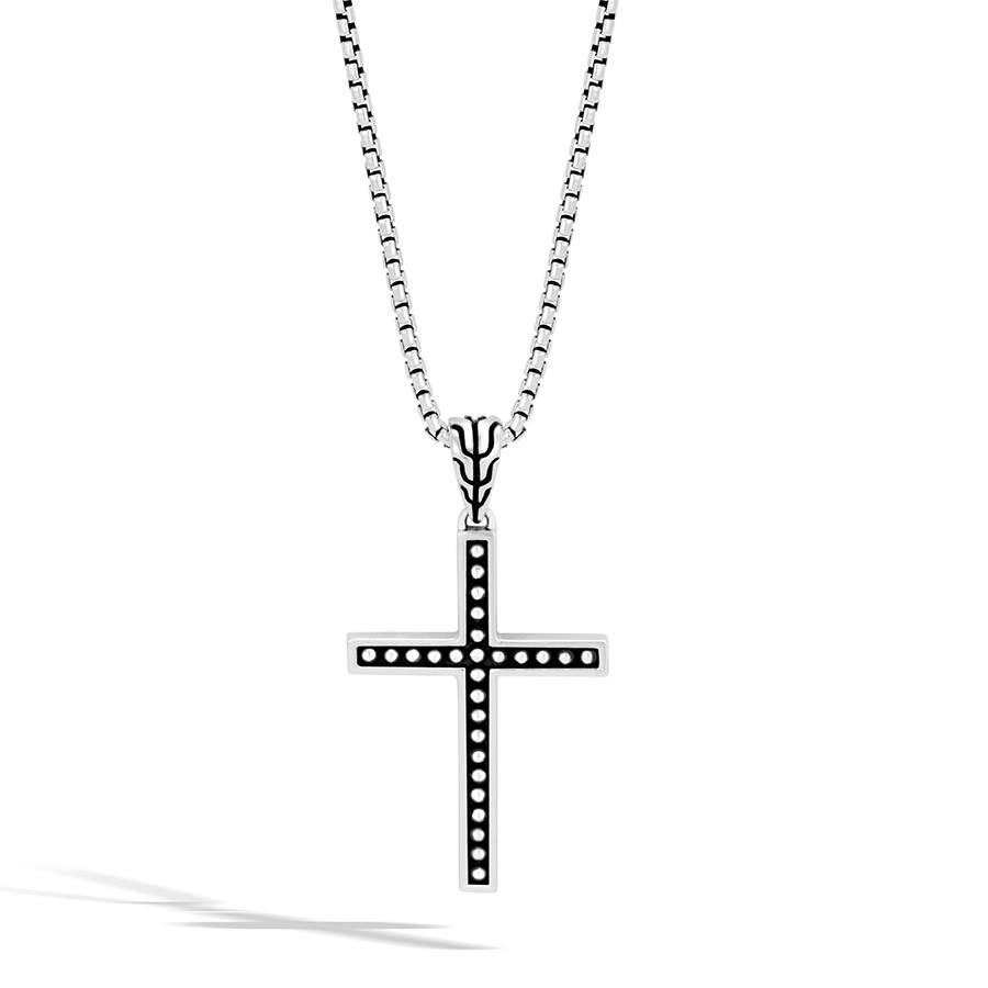 John Hardy Silver Jawan Cross Pendant Classic Chain Necklace