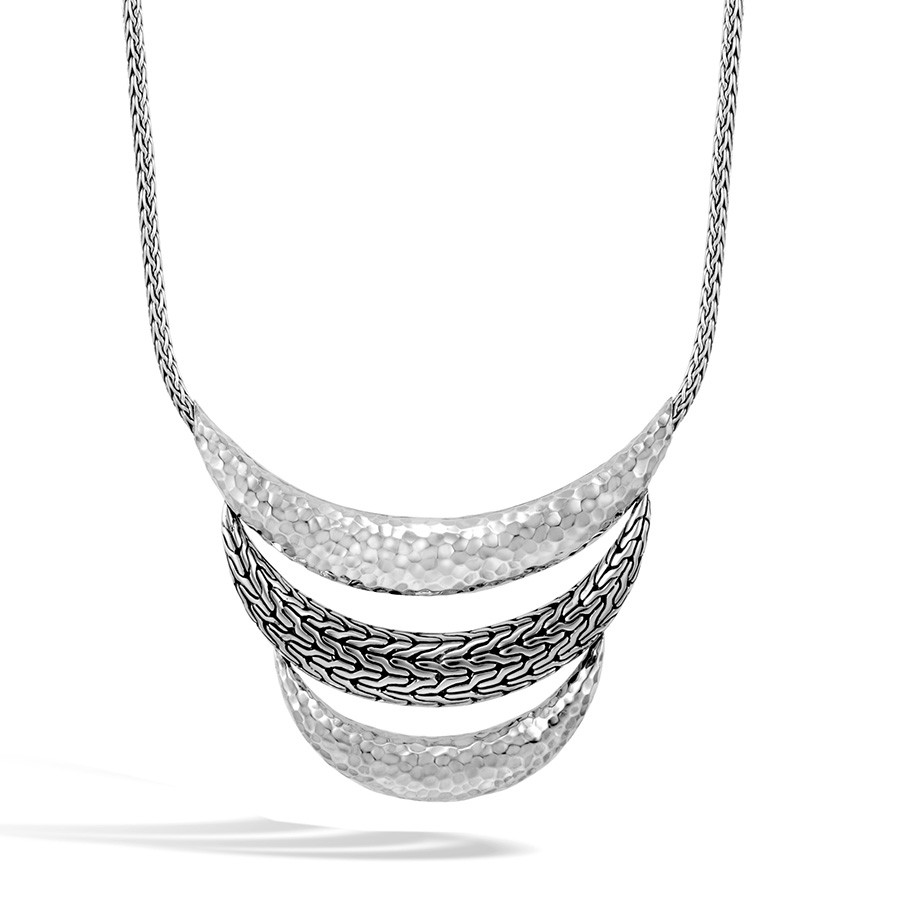 John Hardy Hammered Classic Chain Silver Arch Bib Necklace