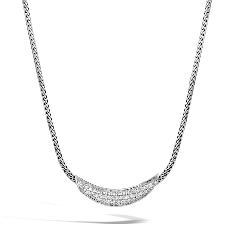 John Hardy Single Arch Classic Chain Diamond Station Necklace
