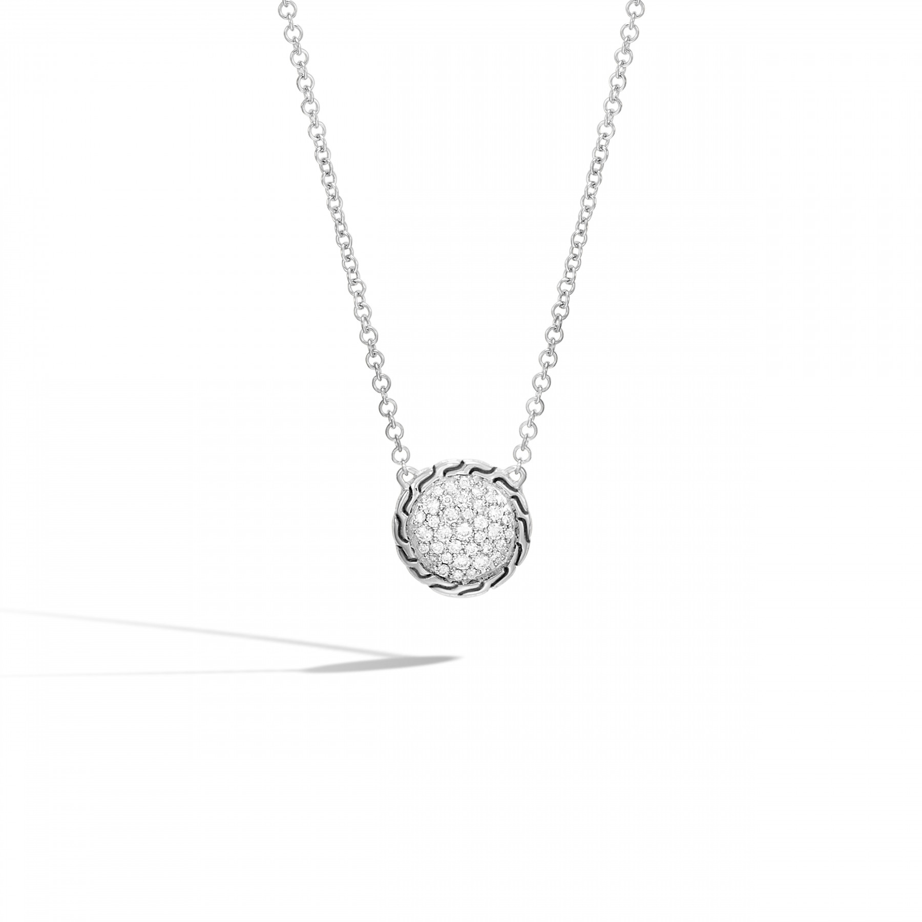 John Hardy Classic Chain Round Diamond Necklace front view