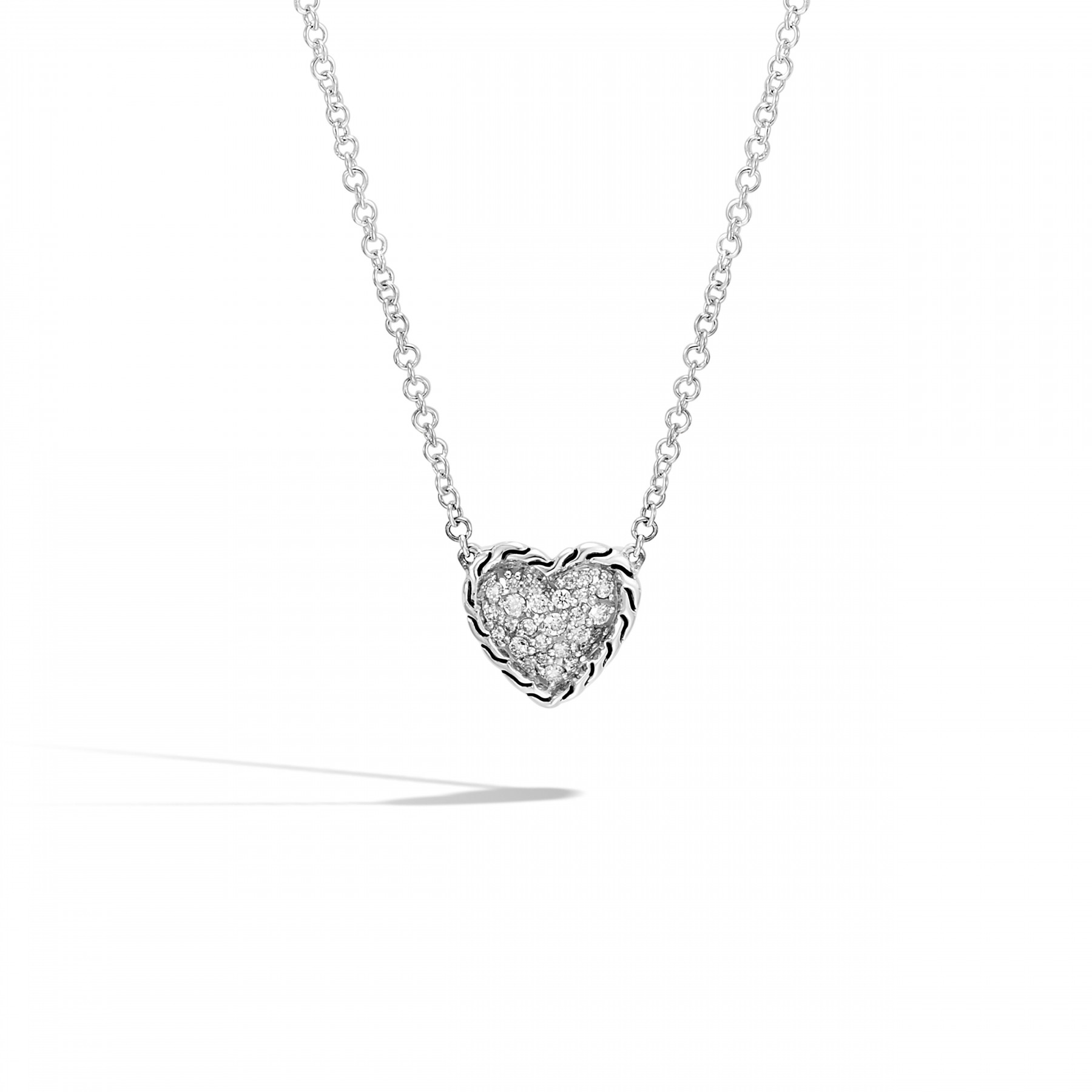 John Hardy Classic Chain Diamond Heart Necklace front view