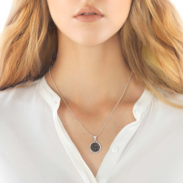 John Hardy Bamboo Small Round Black Sapphire Necklace Pendant On Model