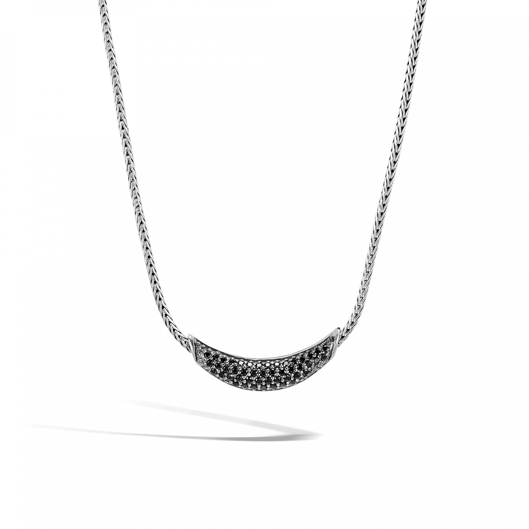 John Hardy Classic Chain Black Sapphire Station Necklace in Sterling Silver Front View