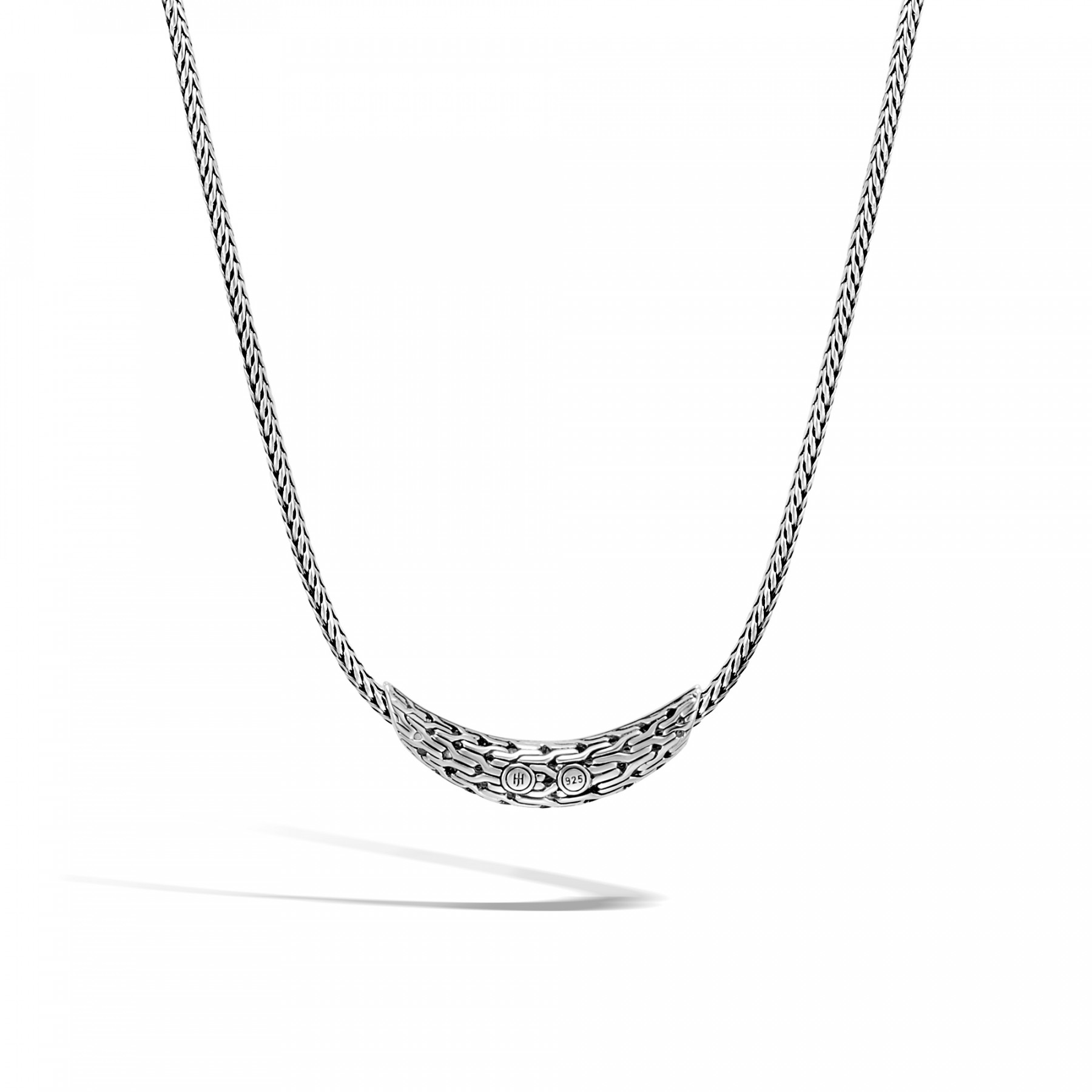 John Hardy Classic Chain Black Sapphire Station Necklace in Sterling Silver Back View