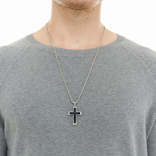 John Hardy Classic Chain Black Jade Cross Necklace on Model