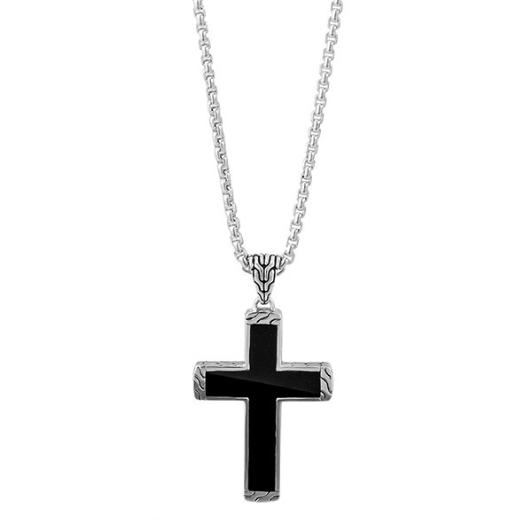 John Hardy Classic Chain Black Jade Cross Necklace