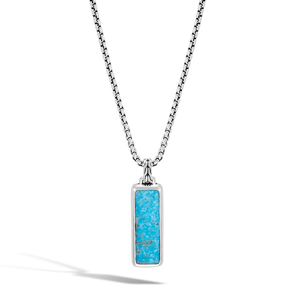 John Hardy Turquoise Dog Tag Pendant Classic Chain Necklace