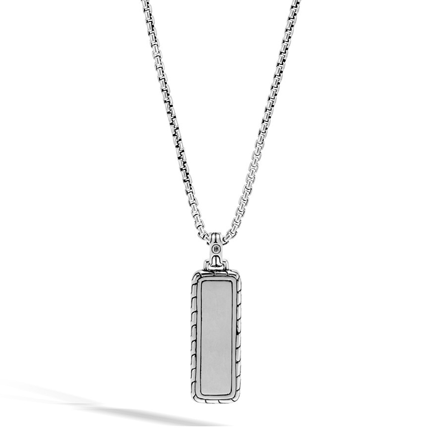 John Hardy Classic Chain Black Sapphire Dog Tag Pendant Necklace Back View