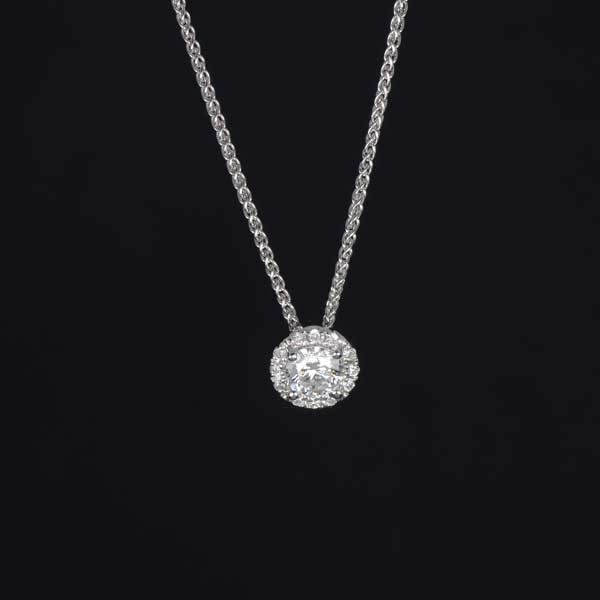 Forevermark The Center of My Universe 18kt White Gold Diamond Halo Pendant Necklace .19ctw