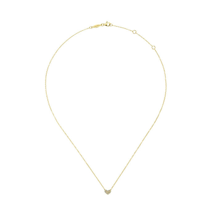 Gabriel & Co. Yellow Gold Diamond Heart Eternal Love Necklace Full View