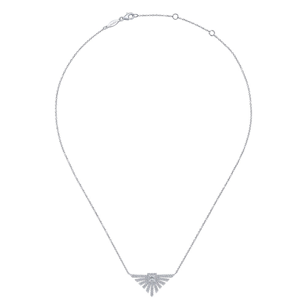 Art Moderne White Gold Diamond Gabriel & Co. Flare Pendant Necklace Full View