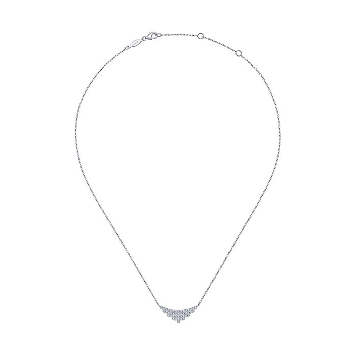 Gabriel & Co. White Gold Curved Stacked Bar Indulgence Necklace Full View