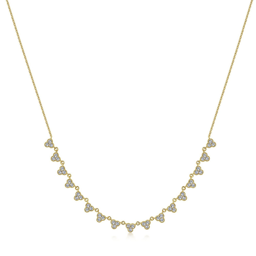 Lusso Yellow Gold Gabriel & Co. Diamond Station Necklace