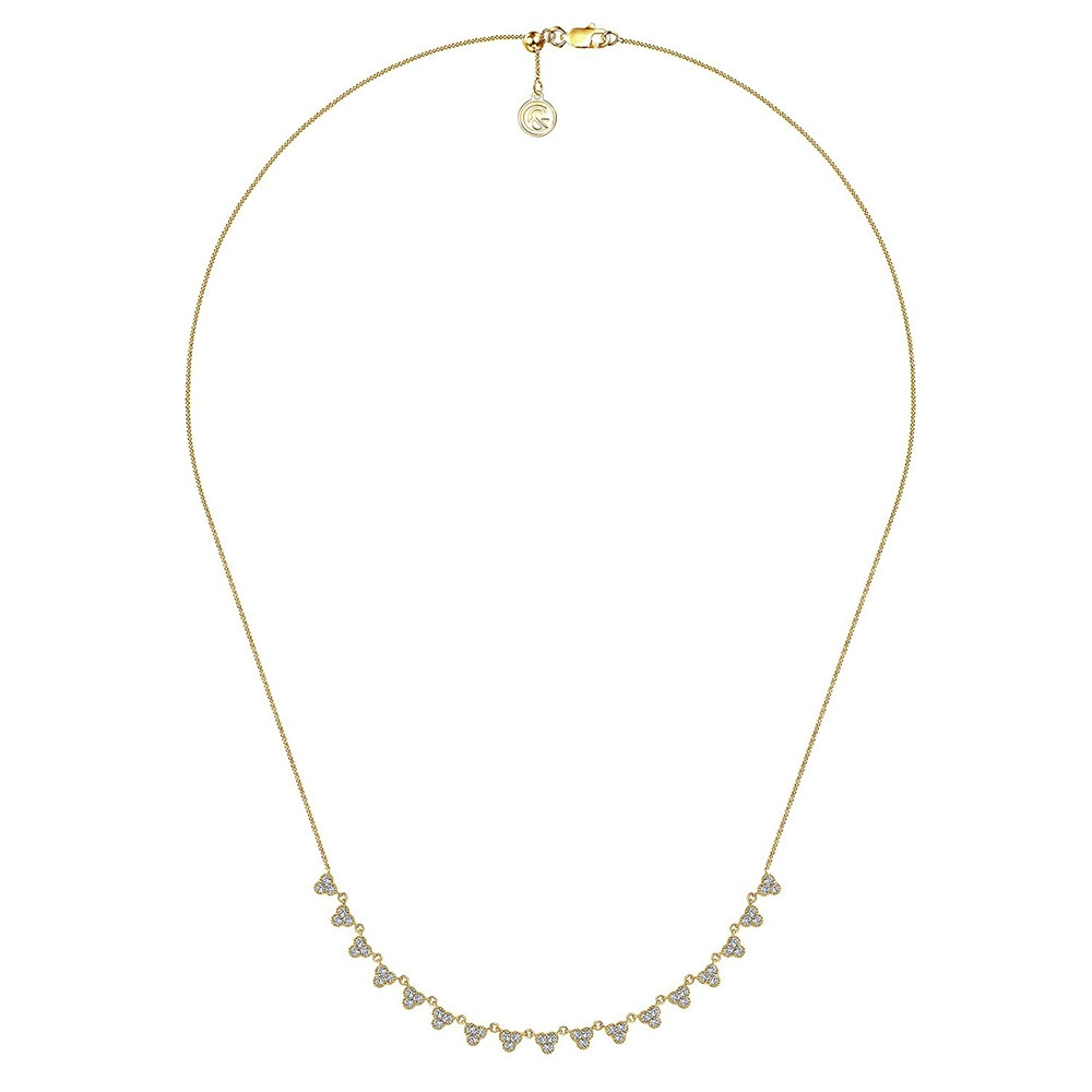 Lusso Yellow Gold Gabriel & Co. Diamond Station Necklace Full View