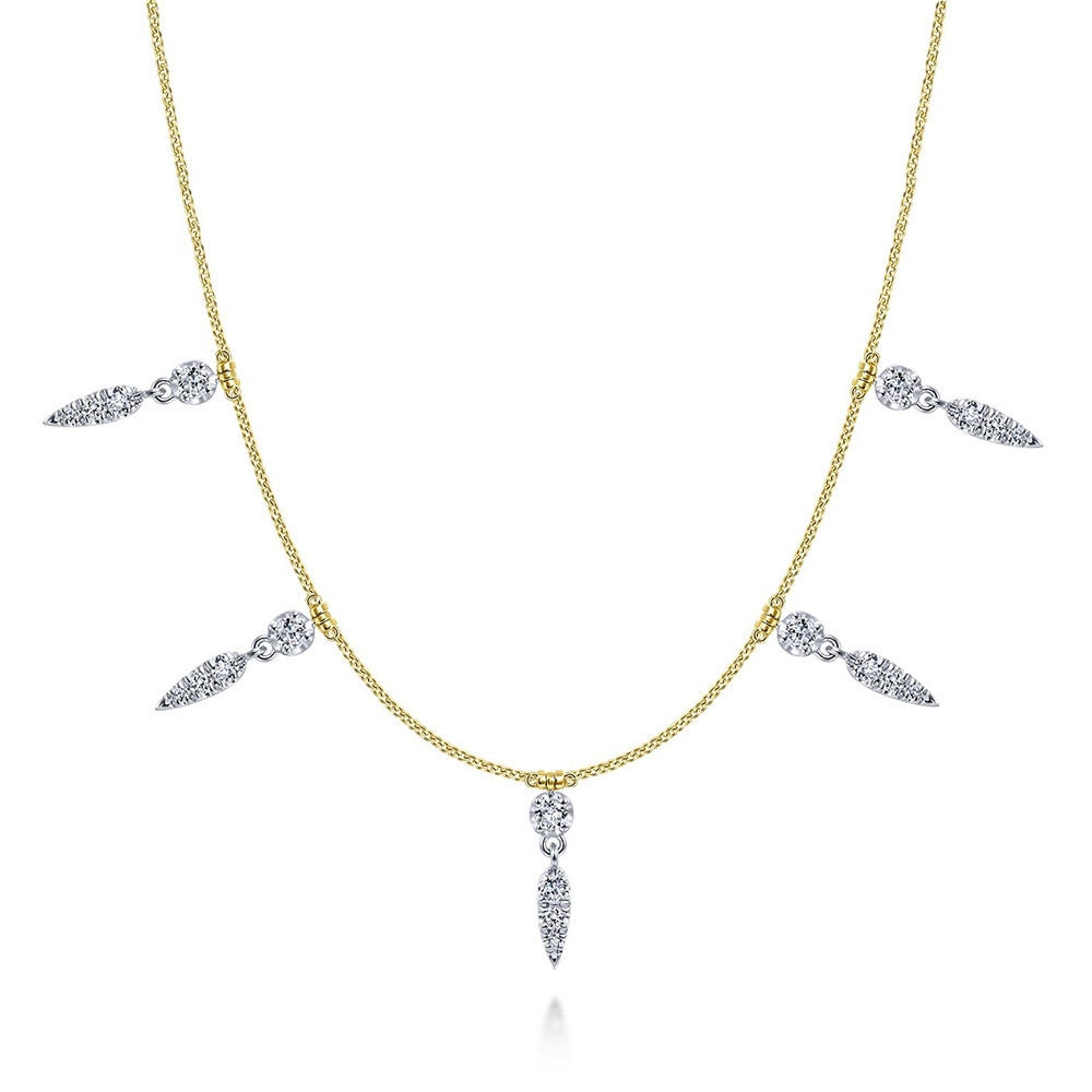 Lusso Yellow Gold Gabriel & Co. Diamond Station Collar Necklace