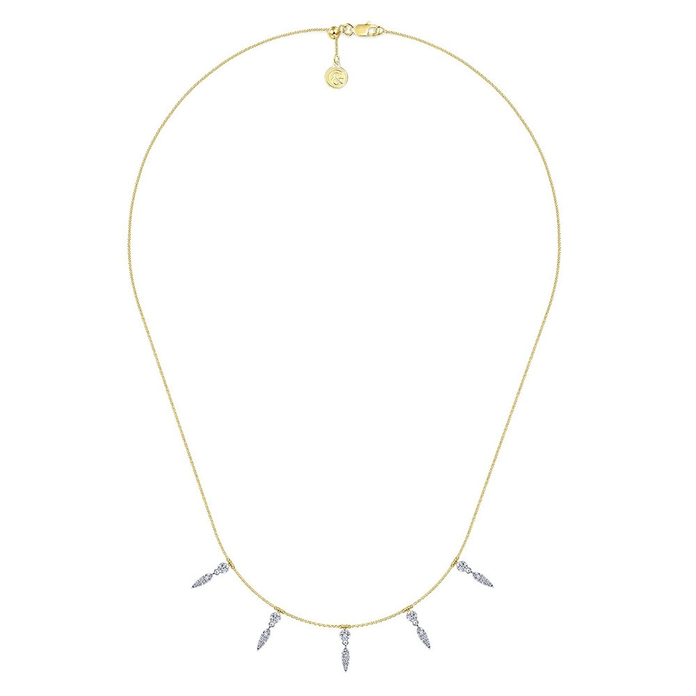 Lusso Yellow Gold Gabriel & Co. Diamond Station Collar Necklace Full View
