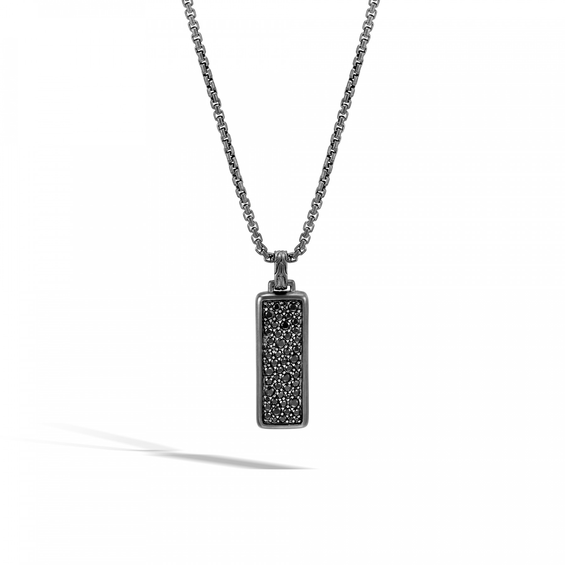 John Hardy Classic Chain Black Sapphire Pendant Necklace in Black Rhodium front view