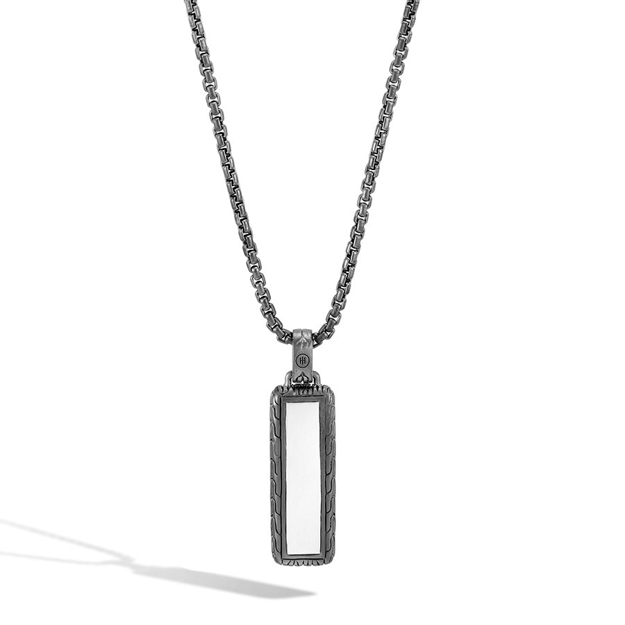 John Hardy Gold & Silver Slim Jawan Dog Tag Classic Chain Pendant Necklace Back View