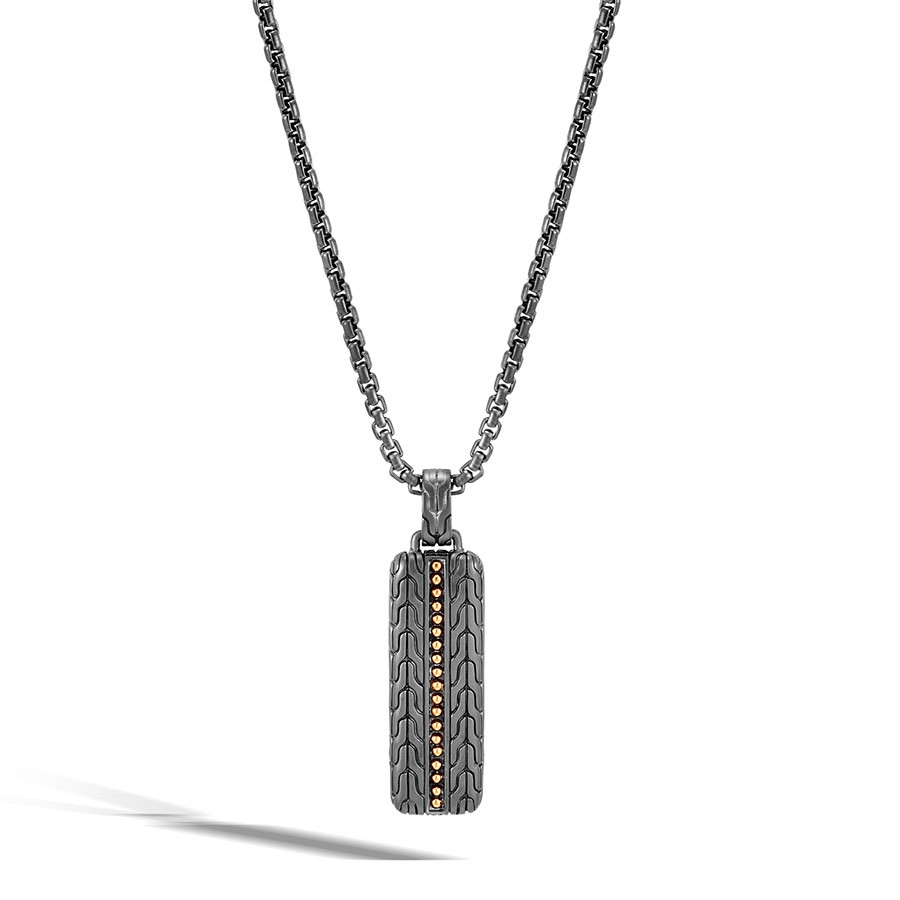 John Hardy Gold & Silver Slim Jawan Dog Tag Classic Chain Pendant Necklace