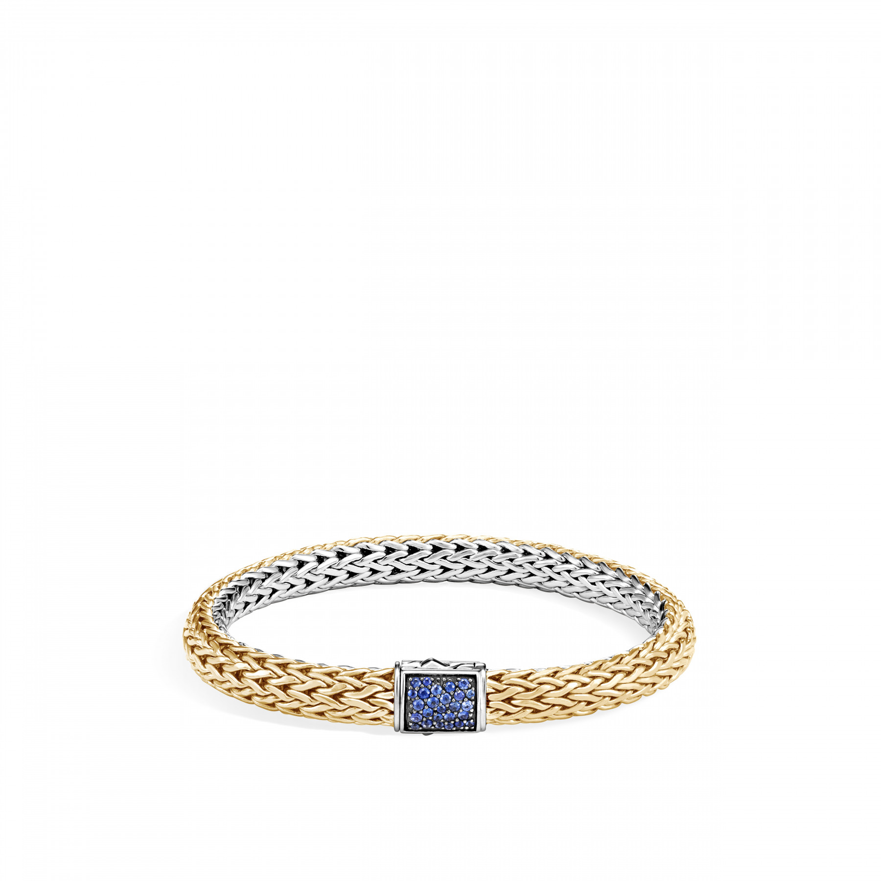 John Hardy Classic Chain Two Tone Gemstone Bracelet with Diamonds and Sapphires (7.5mm) front image gold