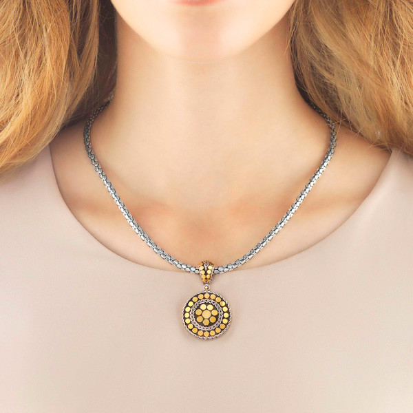 John Hardy Dot Small Round Pendant on Model