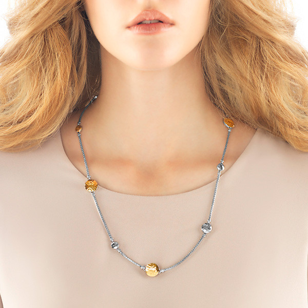 John Hardy Palu Gold & Silver Station Sautoir Necklace On Model