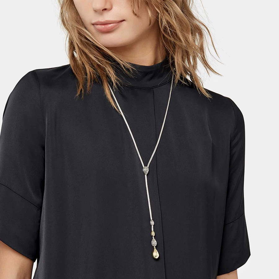 John Hardy Hammered Gold & Silver Classic Chain Lariat Necklace