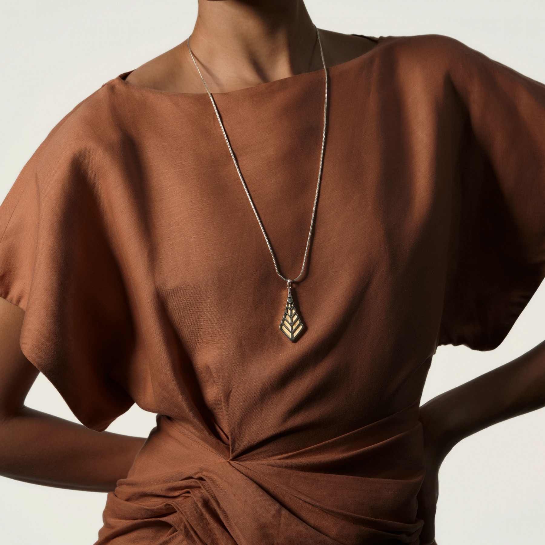 John Hardy Modern Chain Two-Tone Foxtail Necklace on model