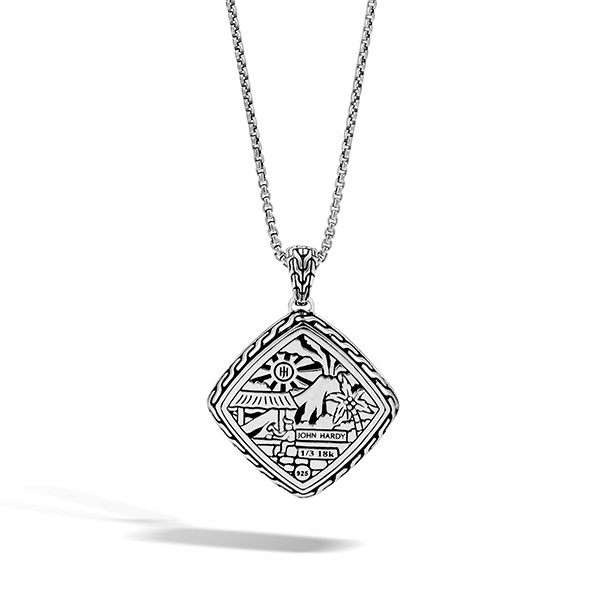 John Hardy Classic Chain Hammered Large Quad Pendant Necklace Back VIew