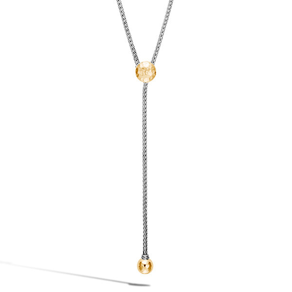 John Hardy Hammered Gold & Silver Station Y Drop Classic Chain Necklace