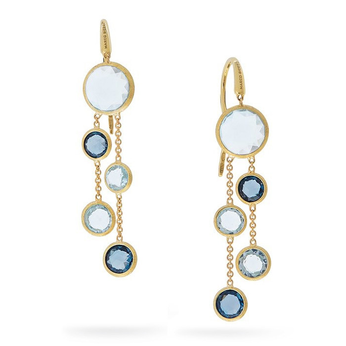 Marco Bicego Yellow Gold Jaipur Mixed Blue Topaz Dangle Drop Earrings