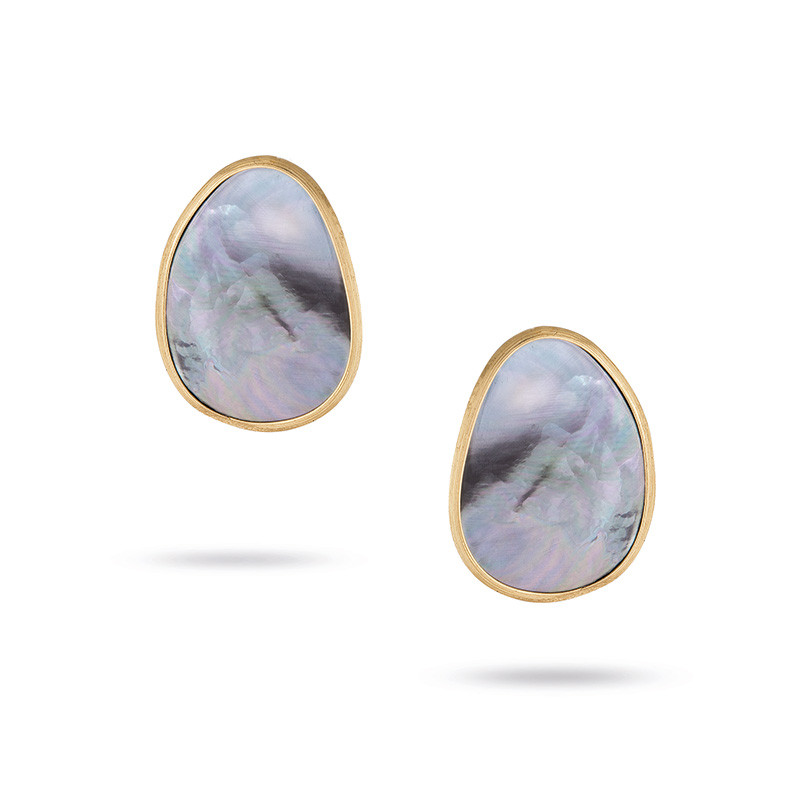 Marco Bicego Yellow Gold Black Mother of Pearl Stud Lunaria Earrings