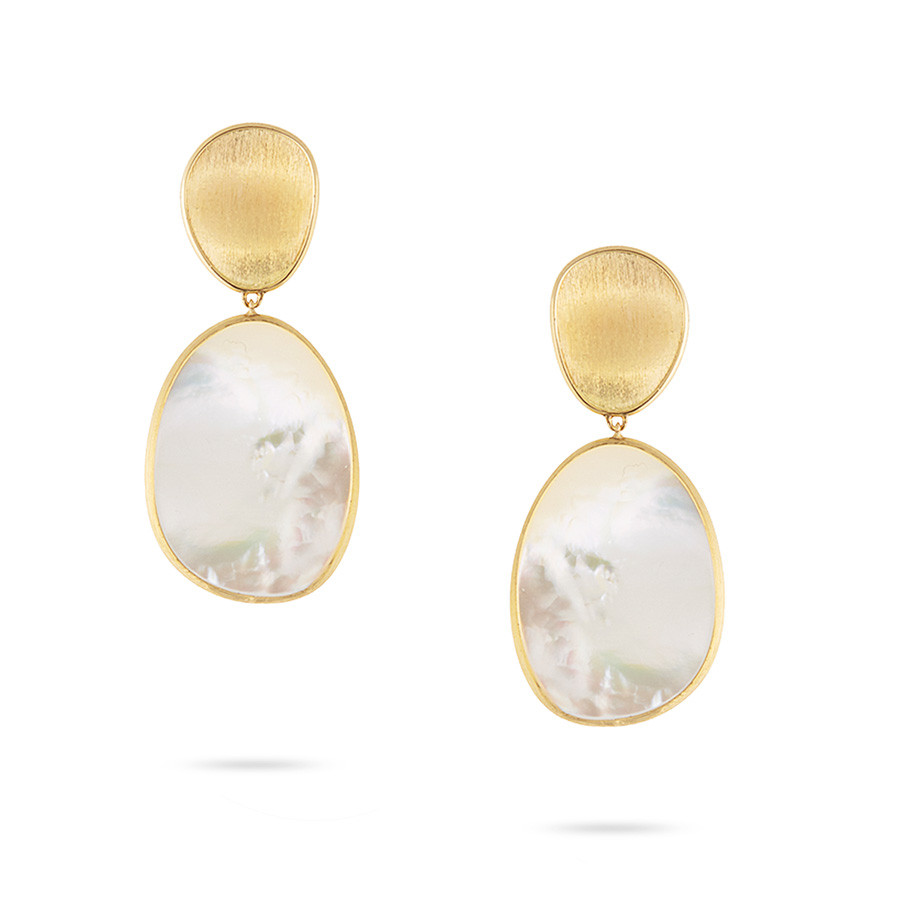 Marco Bicego Medium White Mother of Pearl Lunaria Earrings