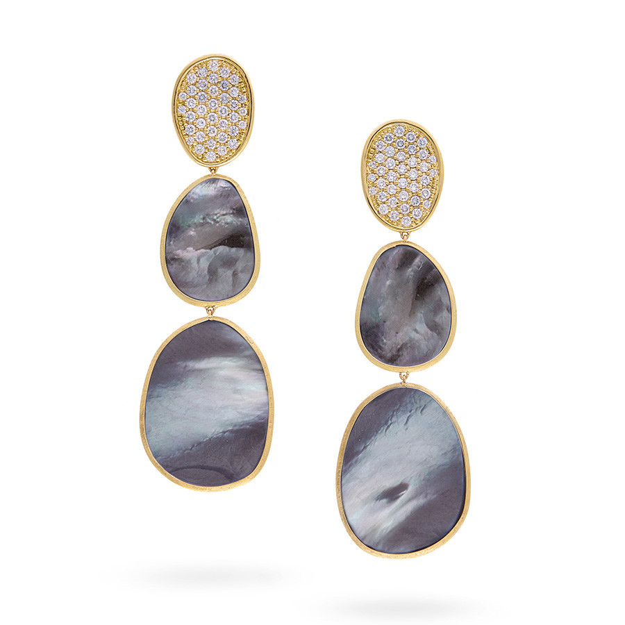 Marco Bicego Large Triple Black Mother of Pearl & Diamond Lunaria Drop Earrings