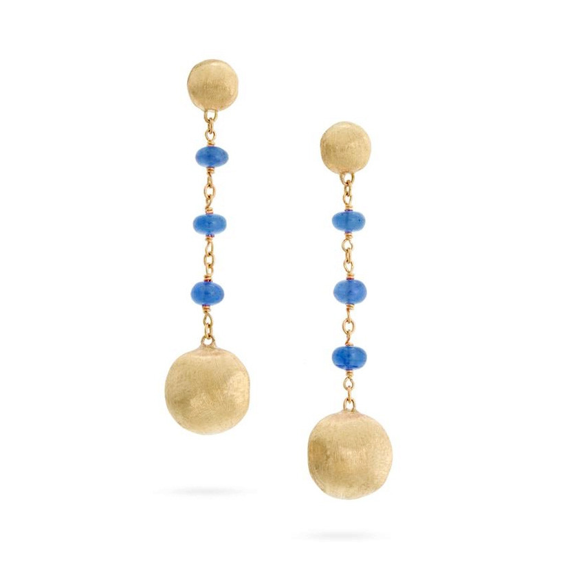 Marco Bicego Yellow Gold Africa Color Blue Sapphire Drop Earrings