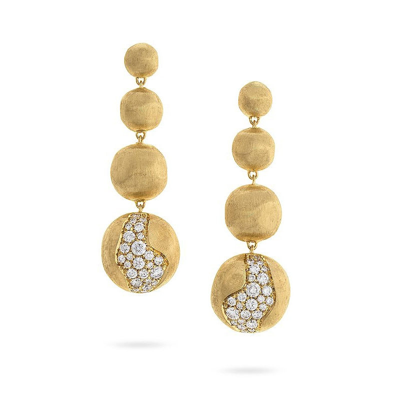 Marco Bicego Africa Constellation Diamond Yellow Gold Graduated Drop Earrings