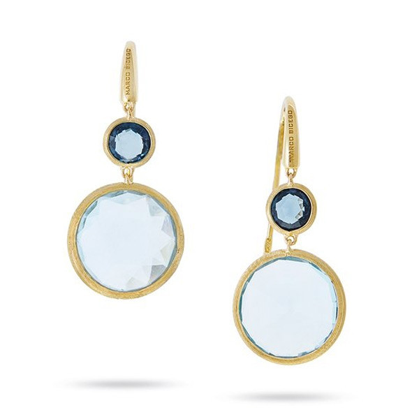 Marco Bicego Yellow Gold Jaipur Mixed Blue Topaz Circle Drop Earrings