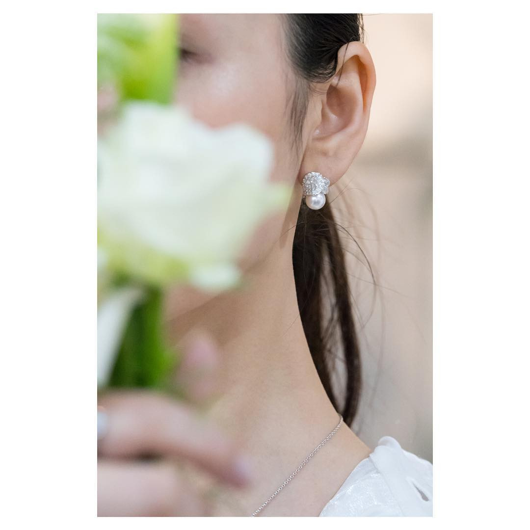 Mikimoto Pearl & Diamond Stud Les Petales Place Vendome Earrings on model