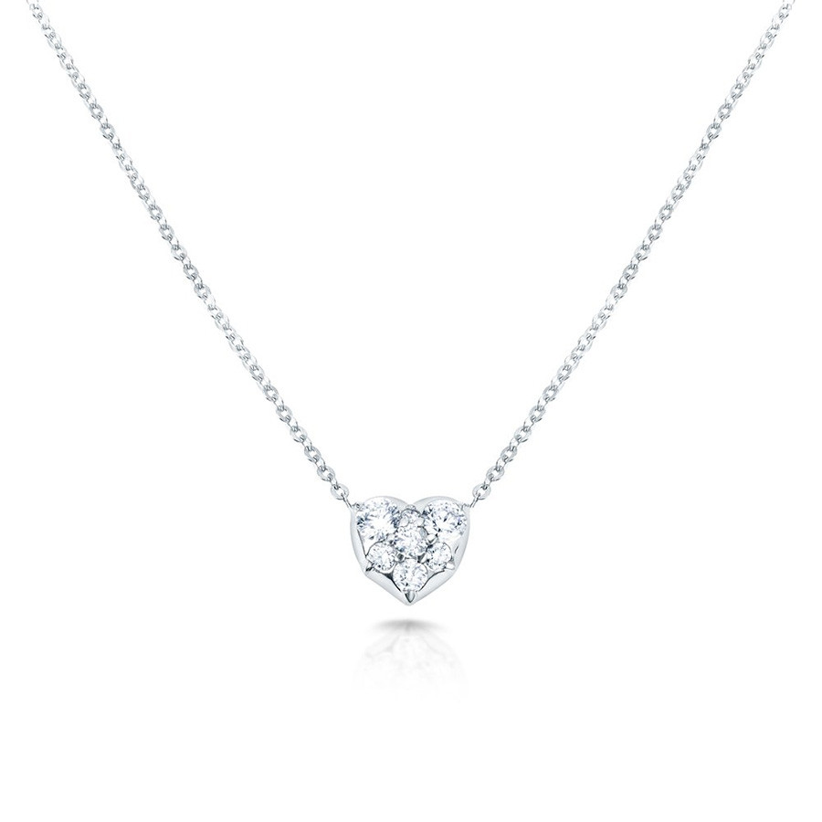 Carbon & Hyde White Gold Heart Diamond Choker Necklace