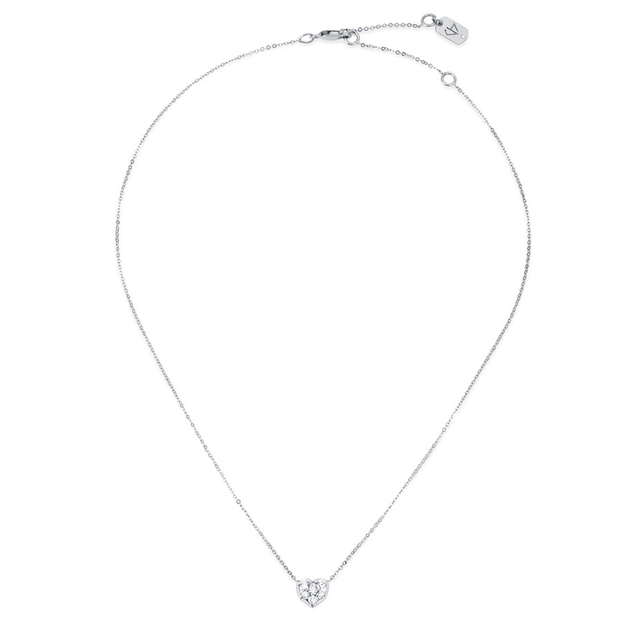 Carbon & Hyde White Gold Heart Diamond Choker Necklace Full View