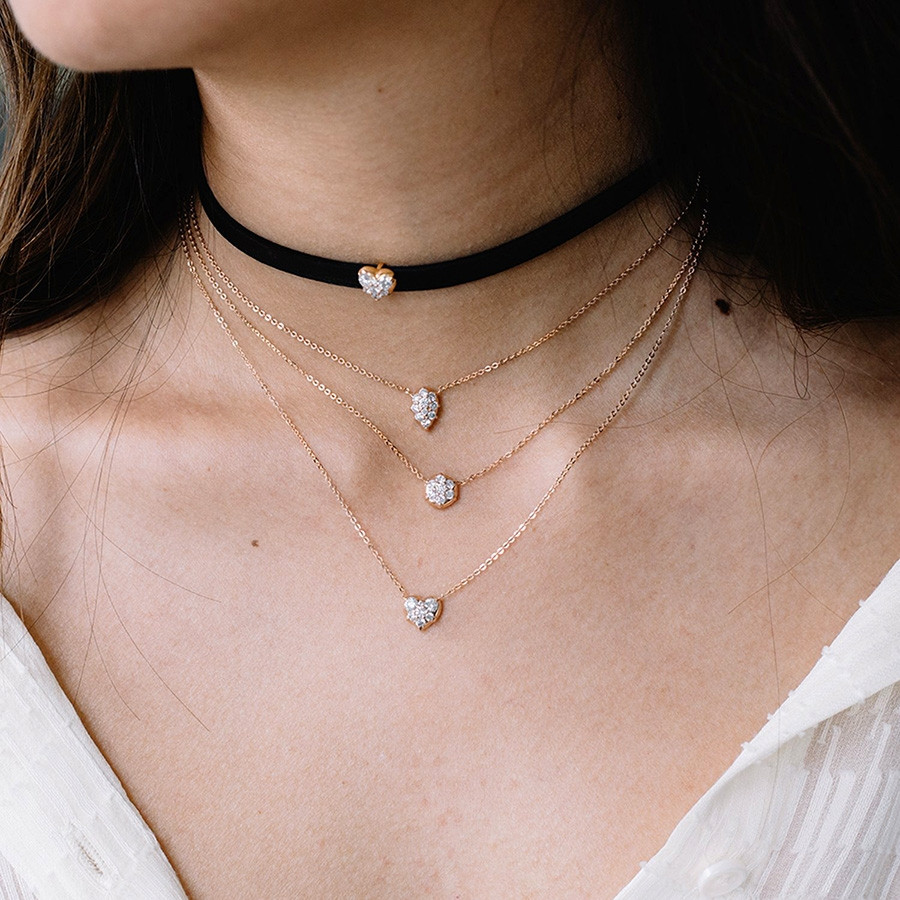 Carbon & Hyde White Gold Heart Diamond Choker Necklace on Model