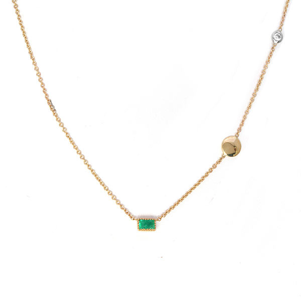 Emerald Pendant Station Necklace