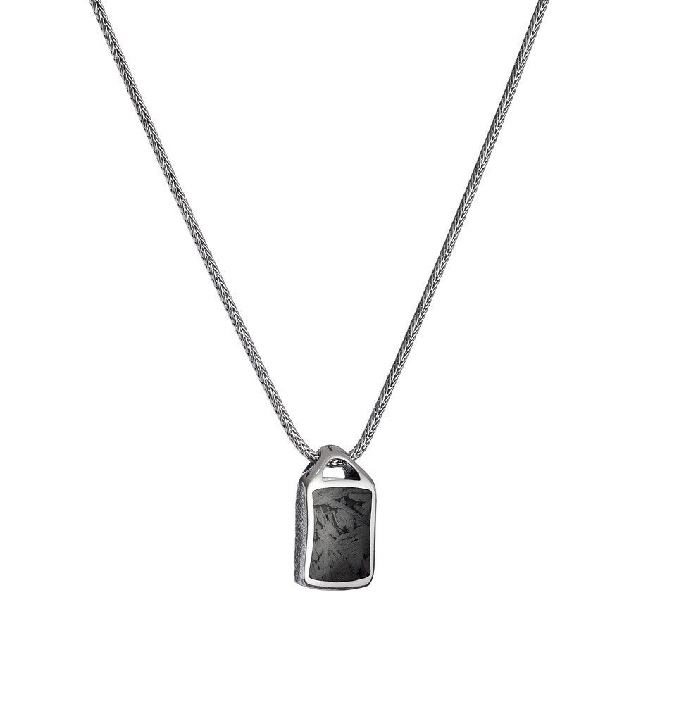 William Henry Dog Tag Carbon Spark Necklace Front View
