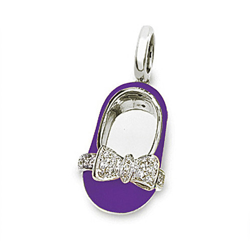 Aaron Basha 18kt White Gold Bright Violet Enamel with Diamond Bow Shoe