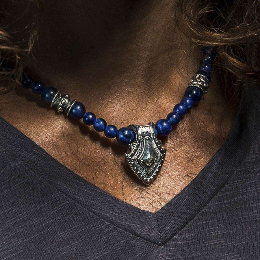 Silver Warrior Shield & Sodalite Beaded William Henry Necklace on Model