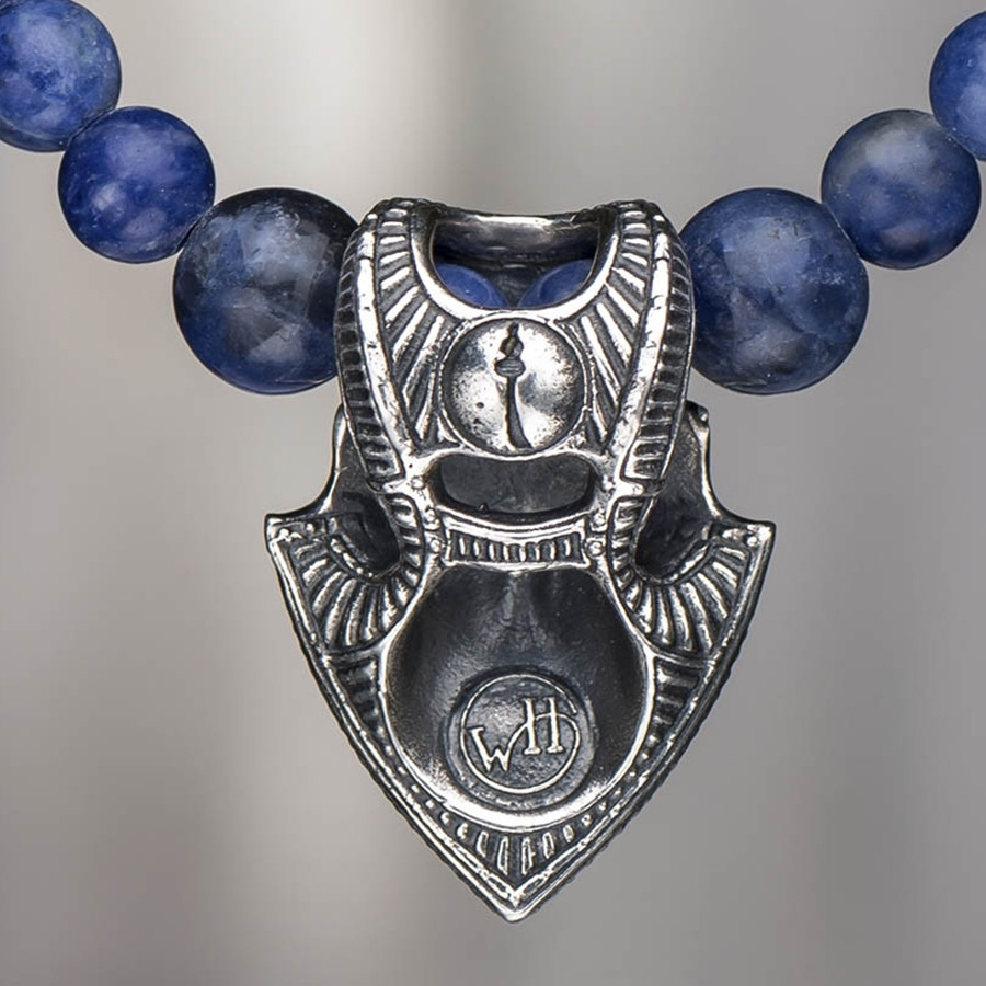Silver Warrior Shield & Sodalite Beaded William Henry Necklace Rear View