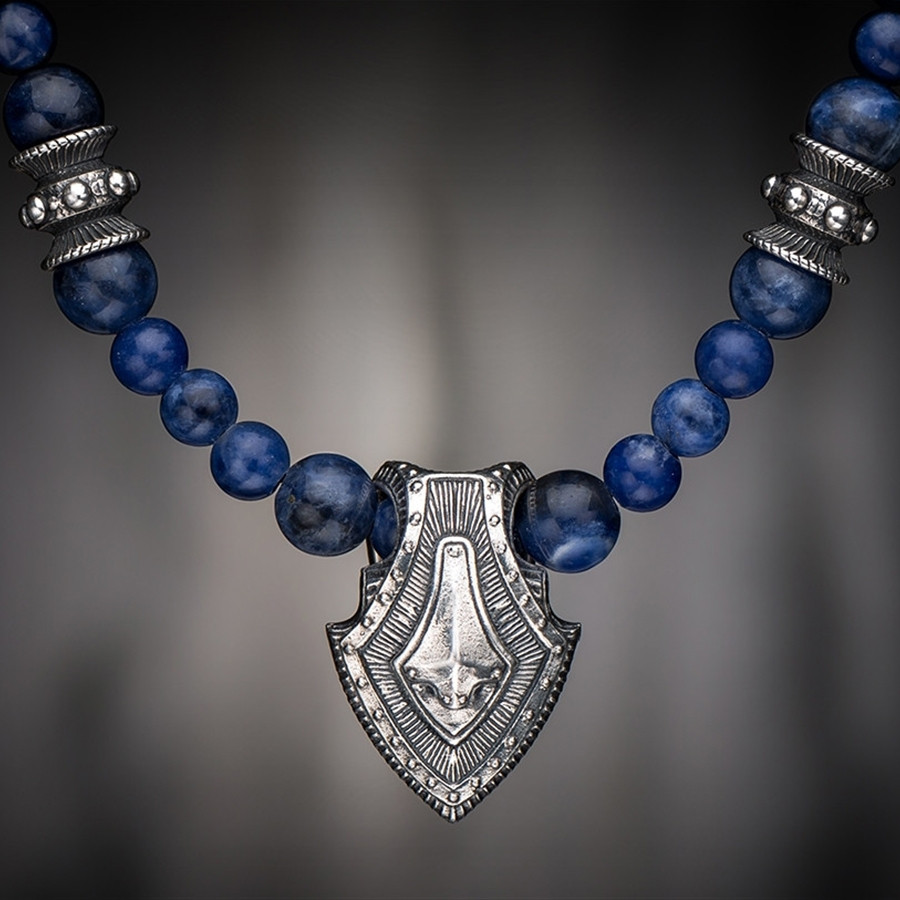 Silver Warrior Shield & Sodalite Beaded William Henry Necklace