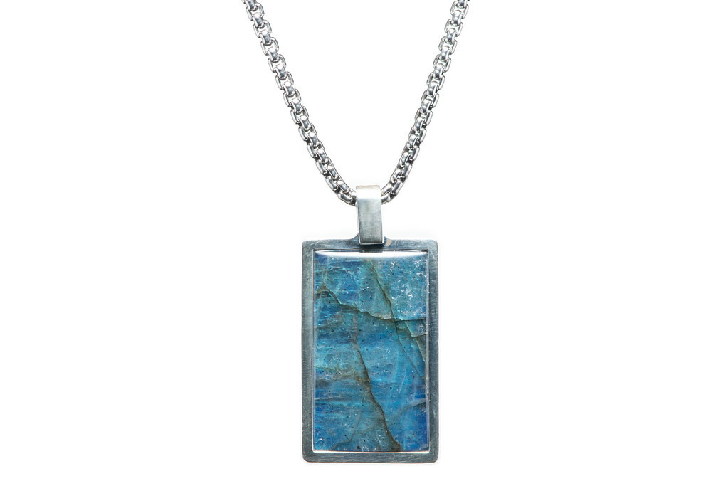 William Henry Labradorite Pinnacle Dog Tag Necklace Front