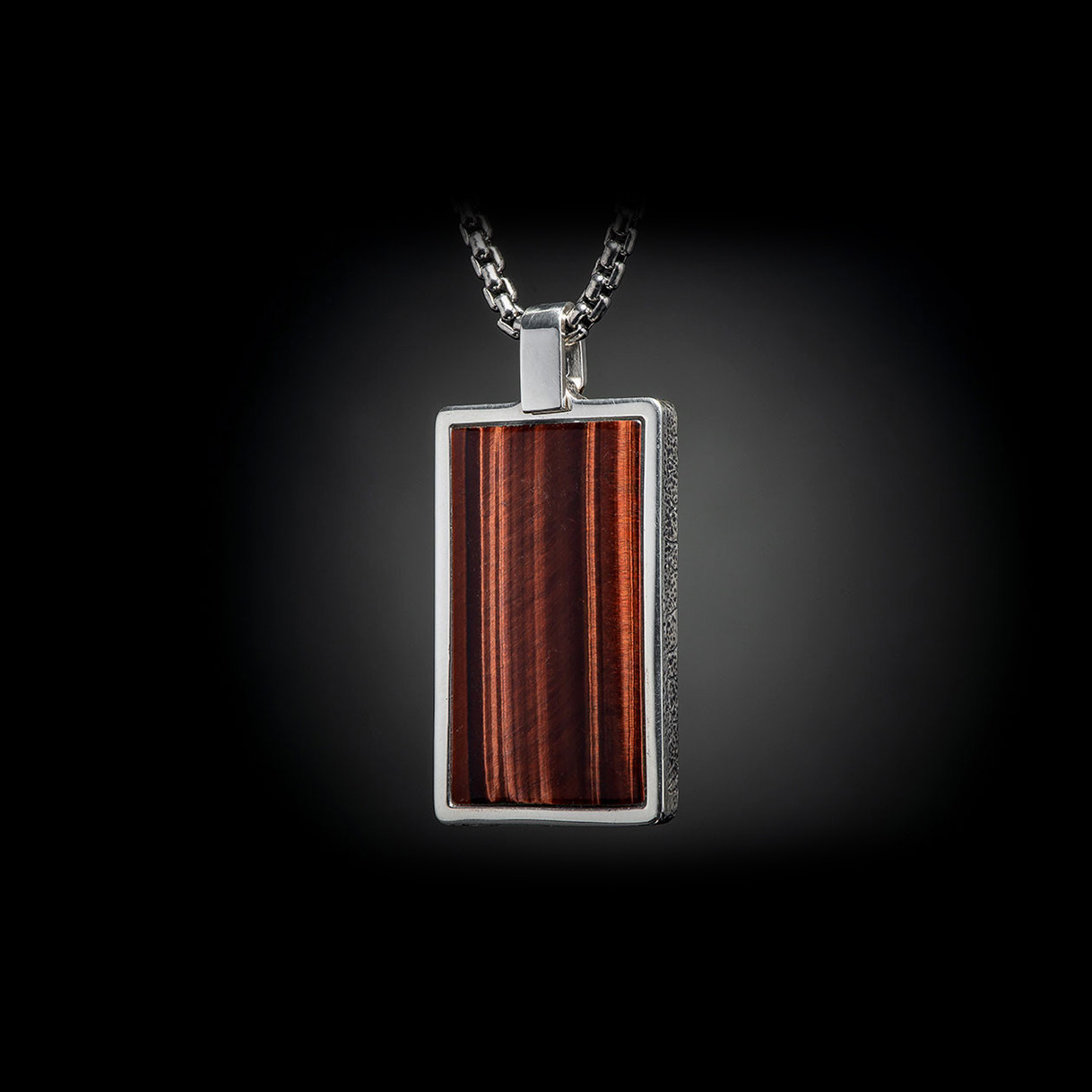 William Henry Tigers Eye Pinnacle Dog Tag Necklace Side