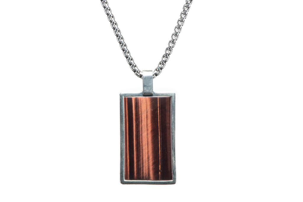 William Henry Tigers Eye Pinnacle Dog Tag Necklace Front